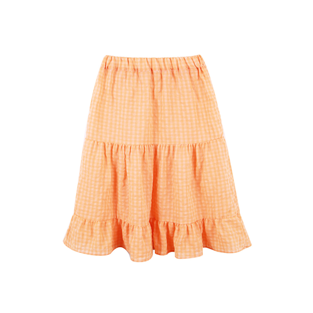Gingham Check Skirt - Orange (2차입고, 당일발송)