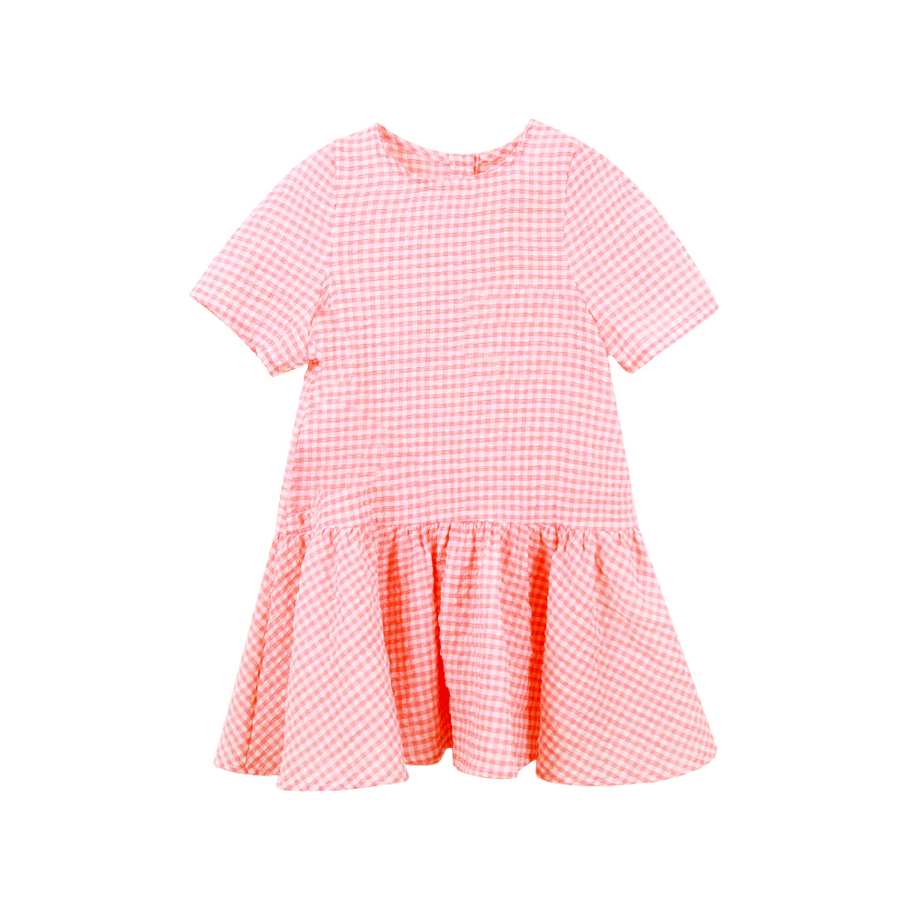 Short sleeve check one-piece - pink (2차입고, 당일발송)